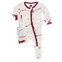 KICKEE PANTS PRINT CLASSIC RUFFLE FOOTIE WITH ZIPPER IN NATURAL FLYING SANTA