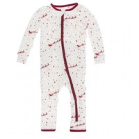 KICKEE PANTS PRINT COVERALL WITH ZIPPER IN NATURAL FLYING SANTA