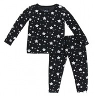 KICKEE PANTS PRINT LONG SLEEVE PAJAMA SET IN SILVER STARS