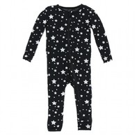 KICKEE PANTS PRINT COVERALL WITH ZIPPER IN SILVER STARS