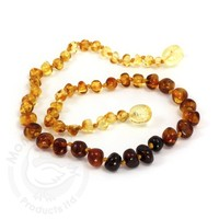 MOMMA GOOSE PRODUCTS YOUTH AMBER HEALING NECKLACE-BAROQUE RAINBOW