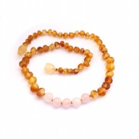 MOMMA GOOSE PRODUCTS RAW HONEY AND ROSE QUARTZ AMBER TEETHING BABY NECKLACE