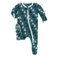 KICKEE PANTS CHRISTMAS TREE PRINT FOOTIE WITH ZIPPER