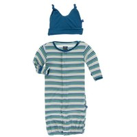 KICKEE PANTS PRINT LAYETTE GOWN CONVERTER & KNOT HAT SET