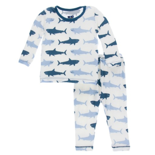KICKEE PANTS PRINT LONG SLEEVE PAJAMA SET IN NATURAL MEGALODON