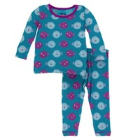 KICKEE PANTS PRINT LONG SLEEVE PAJAMA SET IN SEAGRASS PUFFER