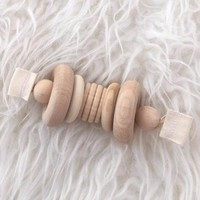 CLOVER & BIRCH RATTLE GRASPING BEADS NATURAL HARDWOOD