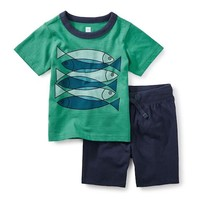 TEA FISH SCHOOL BABY OUTFIT