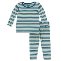 KICKEE PANTS BOY PERTH STRIPE PRINT LONG SLEEVE PAJAMA SET