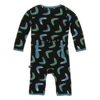 KICKEE PANTS PRINT COVERALL WITH ZIPPER IN  MIDNIGHT BOOMERANG