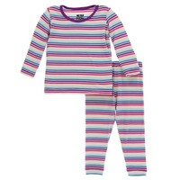 KICKEE PANTS GIRL PERTH STRIPE PRINT LONG SLEEVE PAJAMA SET