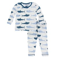 KICKEE PANTS NATURAL MEGALODON PRINT LONG SLEEVE PAJAMA SET