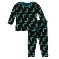 KICKEE PANTS MIDNIGHT BOOMERANG PRINT LONG SLEEVE PAJAMA SET