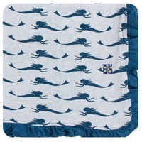 KICKEE PANTS PRINT RUFFLE STROLLER BLANKET IN NATURAL MERMAID