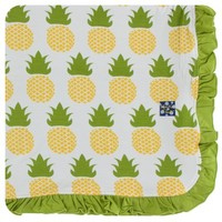 KICKEE PANTS PRINT RUFFLE STROLLER BLANKET IN NATURAL PINEAPPLE