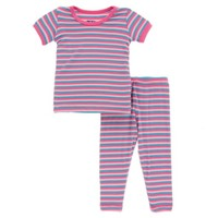 KICKEE PANTS PRINT SHORT SLEEVE PAJAMA SET IN FLAMINGO ANNIVERSARY STRIPE