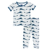 KICKEE PANTS PRINT SHORT SLEEVE PAJAMA SET IN NATURAL MERMAID