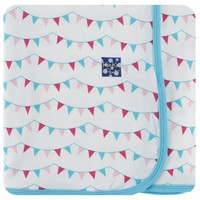 KICKEE PANTS PRINT SWADDLING BLANKET IN FLAMINGO PARTY FLAGS
