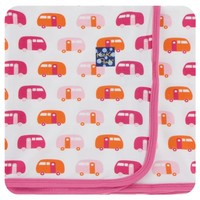 KICKEE PANTS PRINT SWADDLING BLANKET IN NATURAL CAMPER