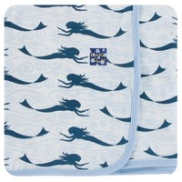 KICKEE PANTS PRINT SWADDLING BLANKET IN NATURAL MERMAID