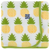 KICKEE PANTS PRINT SWADDLING BLANKET IN NATURAL PINEAPPLE
