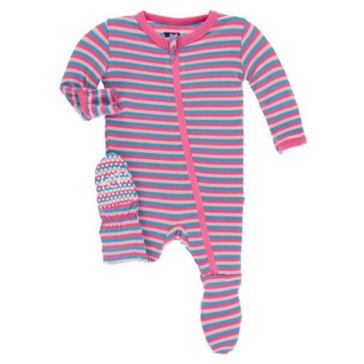 KICKEE PANTS PRINT FOOTIE WITH ZIPPER IN FLAMINGO ANNIVERSARY STRIPE