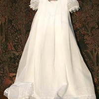 ISABEL GARRETON GRACIOUS CHRISTENING GOWN IN PLEATED ORGANDY WITH MATCHING BONNET