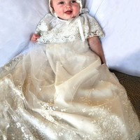 ISABEL GARRETON LEGACY CHRISTENING GOWN IN IVORY EMBROIDERED LACE WITH LACE BONNET