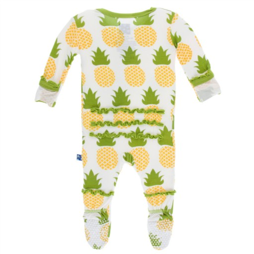 KICKEE PANTS PRINT LAYETTE CLASSIC RUFFLE FOOTIE WITH ZIPPER IN NATURAL PINEAPPLE