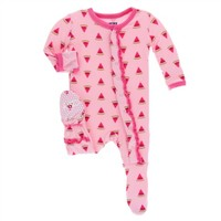 KICKEE PANTS PRINT LAYETTE CLASSIC RUFFLE FOOTIE WITH ZIPPER IN LOTUS WATERMELON