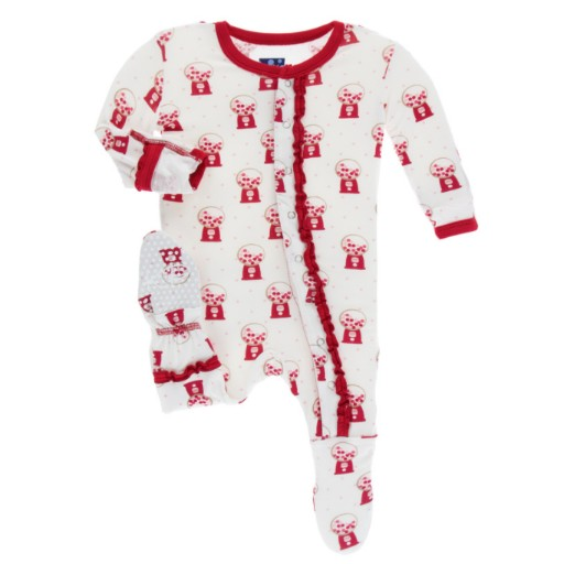 KICKEE PANTS PRINT LAYETTE CLASSIC RUFFLE FOOTIE WITH ZIPPER IN NATURAL GUMBALL MACHINE