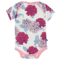 KICKEE PANTS PRINT SHORT SLEEVE ONE PIECE IN NATURAL PEONY