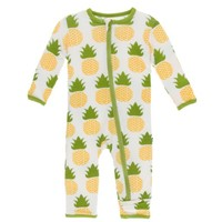 KICKEE PANTS PRINT COVERALL WITH ZIPPER IN NATURAL PINEAPPLE
