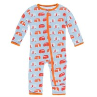 KICKEE PANTS PRINT COVERALL WITH ZIPPER IN POND CAMPER