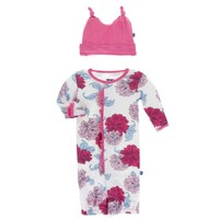 KICKEE PANTS KICKEE PANTS PRINT RUFFLE LAYETTE GOWN CONVERTER & KNOT HAT SET IN NATURAL PEONY