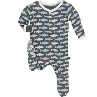 KICKEE PANTS KICKEE PANTS PRINT CLASSIC LAYETTE FOOTIE IN STONE TROUT
