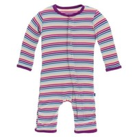 KICKEE PANTS PRINT COVERALL WITH SNAPS IN PERTH GIRL STRIPE