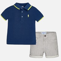MAYORAL USA POLO AND STRIPED SHORTS SET