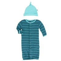 KICKEE PANTS PRINT LAYETTE GOWN CONVERTER & KNOT HAT IN SHINING SEA STRIPE