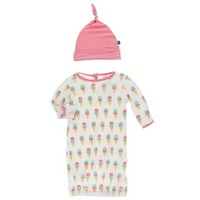 KICKEE PANTS PRINT LAYETTE GOWN & KNOT HAT IN NATURAL ICE CREAM CONE