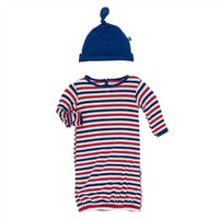 KICKEE PANTS PRINT LAYETTE GOWN & KNOT HAT IN USA STRIPE