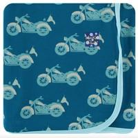 KICKEE PANTS KICKEE PANTS PRINT SWADDLING BLANKET IN HERITAGE BLUE MOTORCYCLE