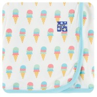 KICKEE PANTS KICKEE PANTS PRINT SWADDLING BLANKET IN NATURAL ICE CREAM