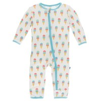 KICKEE PANTS PRINT COVERALL WITH ZIPPER IN NATURAL ICE CREAM
