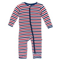 KICKEE PANTS PRINT COVERALL WITH ZIPPER IN USA STRIPE