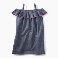 TEA CHAMBRAY RUFFLE NECK DRESS