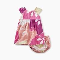 TEA FLORAL FLUTTER SLEEVE BABY DRESS