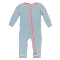 KICKEE PANTS PRINT COVERALL WITH ZIPPER IN STRAWBERRY STRIPE