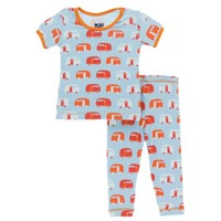 KICKEE PANTS PRINT SHORT SLEEVE PAJAMA SET IN POND CAMPER