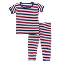 KICKEE PANTS PRINT SHORT SLEEVE PAJAMA SET IN USA STRIPE